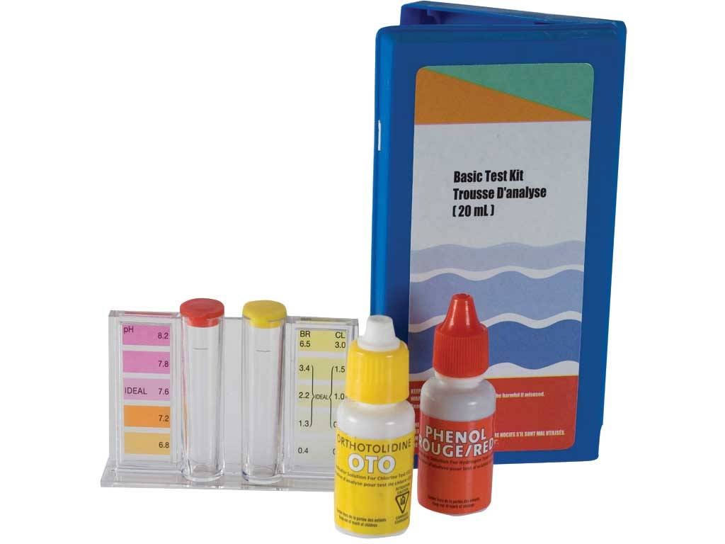 TEST KIT FOR CHLORINE AND pH WITH LIQUID REAGENTS